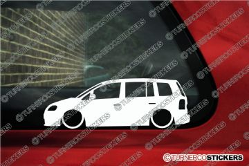 2x Low car outline stickers - for Volkswagen VW Touran Mk1 (2003-2006) stanced